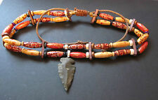 A multi coloured American Indian Double Choker with a Flint Arrow Head 16""