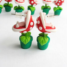 Mario Brothers Earrings Handmade Stud Piranha Plant Yoshi Cartoon Polymer Clay