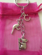 TIbetan Silver Koala Bear And Kangaroo Keyring/Keychain/bag charm Personalised