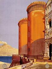 ADVERTISING TRAVEL TOURISM NAPOLI ITALY NAPLES CASTLE VESUVIUS POSTER LV1285