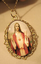 Lacy Rim Goldtone Sacred Heart of Jesus Blessing Cameo Medal Pendant Necklace