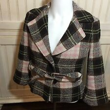 CAbi 730 KATE Plaid Wool Blend BELTED JACKET Blazer Coat 4 pink/brown Italian