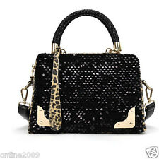 Womens Ladies Luxury Messenger Sequins Leopard Bag Cross Shoulder Handbag Black