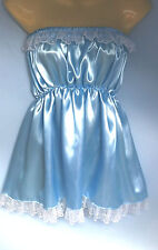 blue satin dress adult baby fancy dress sissy french maid cosplay fit 36-52 new