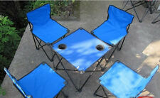 Lightweight 4 x Folding Chair & Table Garden Patio Furniture Beach Set Kit Blue