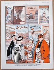 AVALOT 1920 Vintage French La Vie Parisienne Print HOLIDAY TOURISTS AND POSTERS