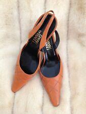 VERSACE ORANGE Leather Slingback Vintage Shoes