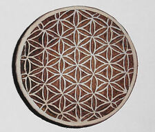 Flower of Life Round 9cm Indian Hand Carved Wooden Printing Block Stamp