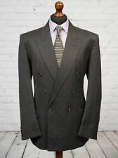 Centaur Grey Pinstripe Double Breasted Wool Blend Suit Jacket 44R