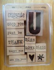 2005 Stampin Up ALL ABOUT U 12pc RUBBER INK STAMP SET Words using U at the end