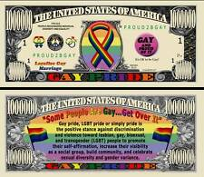 Gay Pride Million $ Novelty Collector Bill Note