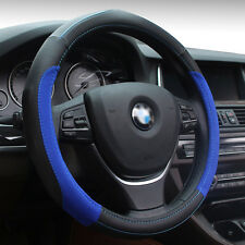 Sports Grade Universal 38cm Black PU Leather Blue Thread Steering Wheel Cover