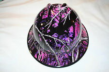 New Custom MSA V-Gard (Full Brim) Hard Hat W/Fas-Trac Ratchet Muddy Girl Camo