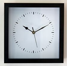*NEW* Modern Black Wall Clock - Wooden Glass Vintage Square Station Kitchen Gift