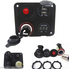 4 Hole Panel+Dual USB Socket+Voltmeter+Power Socket+ON-OFF Button For Car Boat