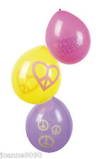 HIPPY HIPPIE 60S 70S PEACE CND PARTYWARE PARTY CELEBRATION PACK OF 6 BALLOONS