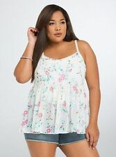 Torrid 1X 14 16 Floral Bird Babydoll Chiffon Cami Top Womens Multi-color Nwot