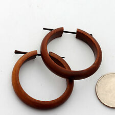 EARRINGS hoops Sono Wood rosewood organic hand made ERJ-045 wooden spike 1&1/2""