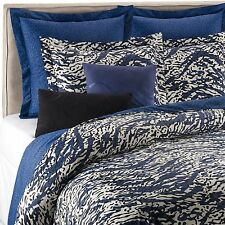 2pc DVF LEOPARD SEA SPLASH Navy Black White TWIN DUVET COVER & STANDARD SHAM