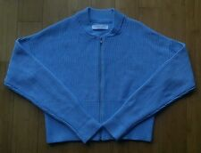 Everlane 100% cotton chunky knit crop cardigan zip sweater, light blue, M, NWOT