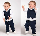 Baby Toddlers Boy Formal Wedding Pageant Suit Shirt Pants Waistcoat Set 6M-5Yrs