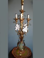 VINTAGE ITALIAN TOLE CANDELABRUM TABLE LAMP LILY LILIES FLORAL METAL SHABBY 37""