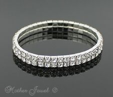 STERLING SILVER PLATE DOUBLE CRYSTAL WEDDING STRETCH LADIES BRACELET BANGLE