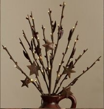 PRIMITIVE BATTERY OPERATED TWIG BRANCH With METAL STARS AND RED BERRIES