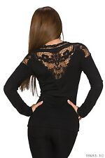 Women's Wear Chic Jumper Cardigan Pullover Top with Lace Back UK size 10