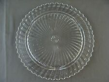 Vintage Clear Glass Footed Cake/Cupcake Stand With Swirl Pattern In Center