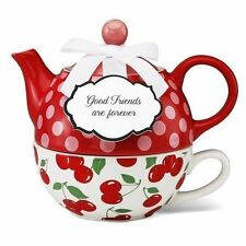 Pavilion Gift Tea for One Set  Stacked Teapot & Cup I LOVE CHERRIES JessieSteele