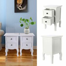 Pair of Shabby Chic Small Bedside Table Unit Cabinet Nightstand 2 Drawer Storage