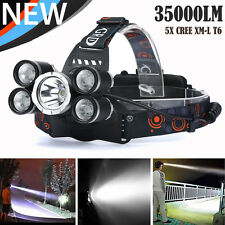 35000LM 5X CRE T6 LED Headlamp USB Rechargeable Camping Headlight Head Torch UK