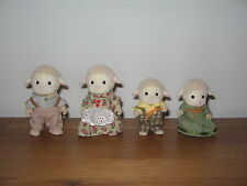 Sylvanian Familes Sheep family, Dale Sheep Mum, Dad, son & daughter all dressed