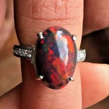 New Custom Chistick 5.45ct Ethiopian black welo opal Diamond & Platinum ring 6.5