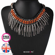 NEW TASSLE SILVER BROWN RIVET NECKLACE SPIKE WOMENS CRYSTAL GOTH PUNK CHOKER UK