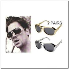 2 Pair Jackass Aviator Johnny Knoxville Elvis Sunglasses Retro 80's Gold Silver