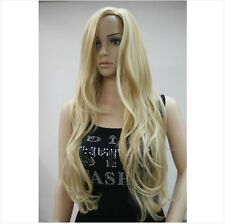 New!!!Women Ladies Sexy Long wavy curly Blonde Natural Hair full wigs + Wig gift