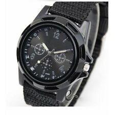 Fashion Men's Sport Quartz Canvas Nylon Strap  Army Military Wrist Watches BLACK