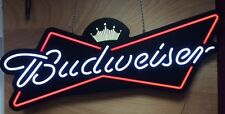 """Budweiser Beer Bowtie Crown Opti Neon sign - 48"""" / 4 Footer NEW IN BOX"""
