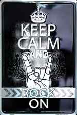 """KEEP CALM AND ROCK ON METAL SIGN 8"""" X 12"""" MAN CAVE SPORTS GAME PARTY ROOM BLACK"""