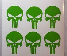 (x6) PUNISHER SKULL DIE CUT DECAL STICKERS Sniper Chris Kyle LIME GREEN