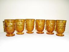Set of 6 Whitehall American Amber Footed Small Juice Goblets - Indiana