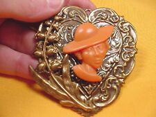 (CA3-9) RARE African-American LADY orange CAMEO Pin/Pendant JEWELRY