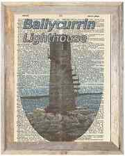 Ballycurrin Lighthouse Ireland Altered Art Print Upcycled Vintage Dictionary