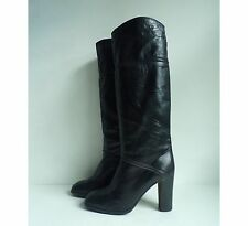 Vintage 90s Madras Black Leather Knee High Heeled Boots Made in Italy Size 9