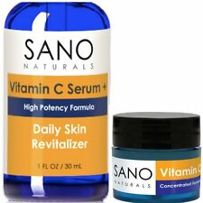 Vitamin C Serum for Face With BONUS Eye Cream - Best 20% Organic Vit C, E and Hy