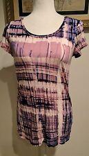 SIMPLY VERA Shirt Womens Medium VERA WANG Short Sleeve Cute Purple Geometric EUC