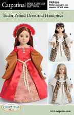 "Tudor Dress Doll Clothes Pattern multi sized for 18"" American Girl & Slim Dolls"