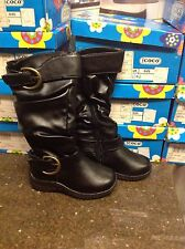 COCO JUMBO GIRLS TODDLER BLACK LEATHER BOOTS BRAND NEW FREE SHIP SIZE 7.5